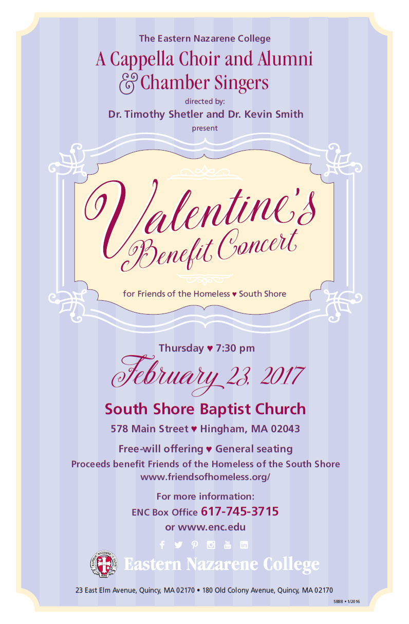 Dorothy Newell, Friends of the Homeless, South Shore Homeless Shelter, Concert, Corale, Valentine, ENC, Eastern Nazarene College, Benefit, Fundraiser